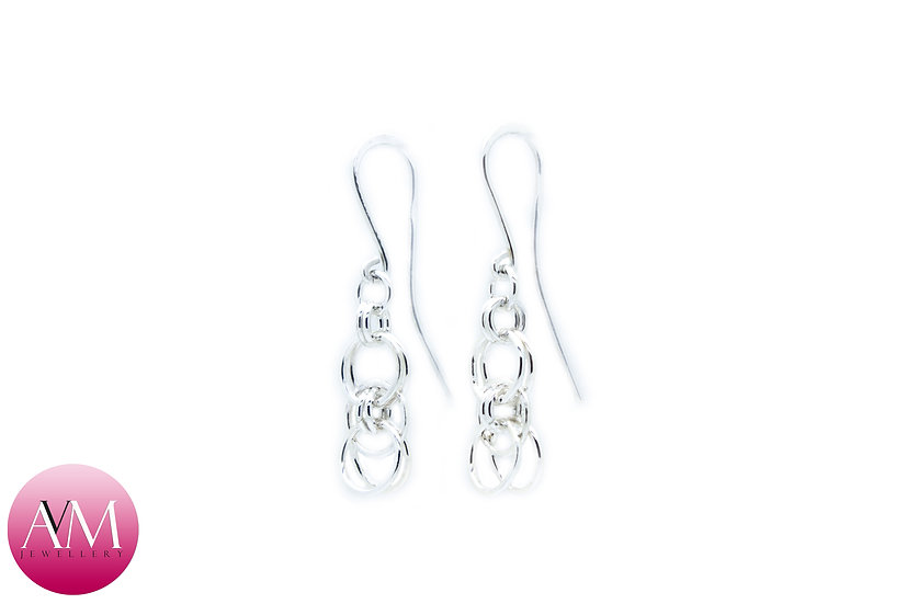 Sterling Silver Helm Chain Earrings in Round Wire