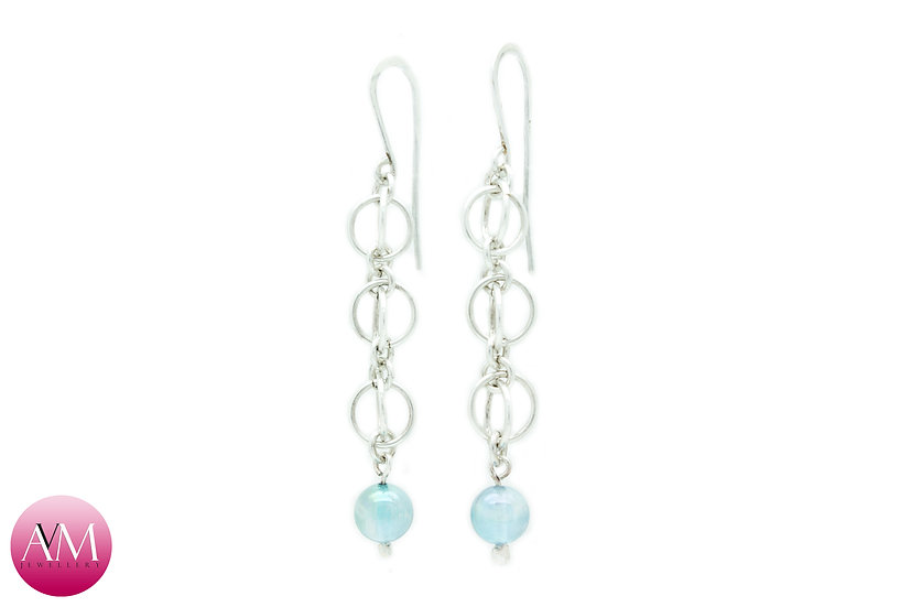 Sterling Silver Quad Orb Earrings with Aqua Aura Crystal Spheres