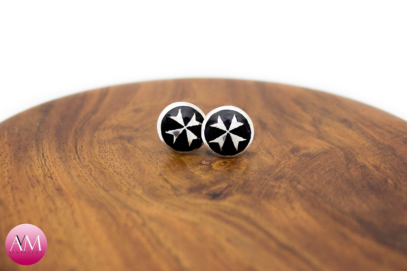 Sterling Silver Maltese Cross Earrings [#02 Black]