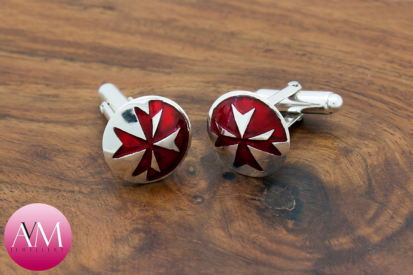 Sterling Silver Maltese Cross Button Cufflinks [Pattern 03Red]