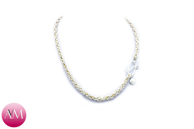 Delicate Byzantine Necklace in Yellow Gold Fill & Sterling Silver