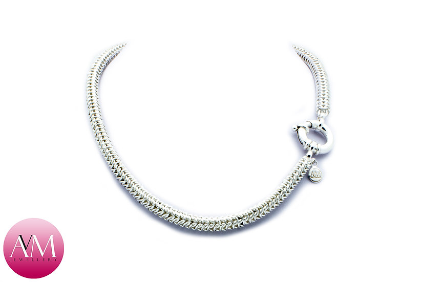 Delicate Sterling Silver Roundmaille Necklace with Jumbo Bolt Ring