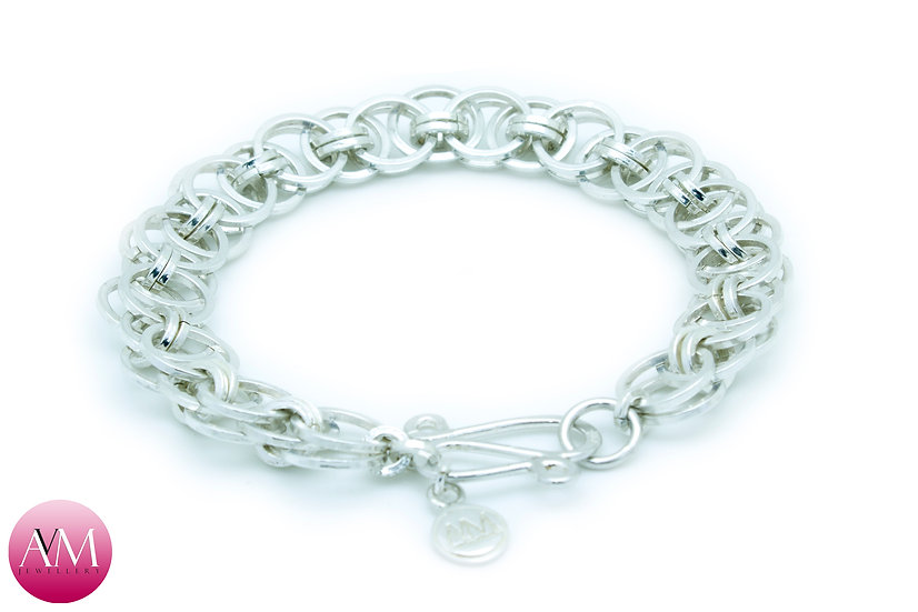Sterling Silver Helm Chain Bracelet in Square Wire