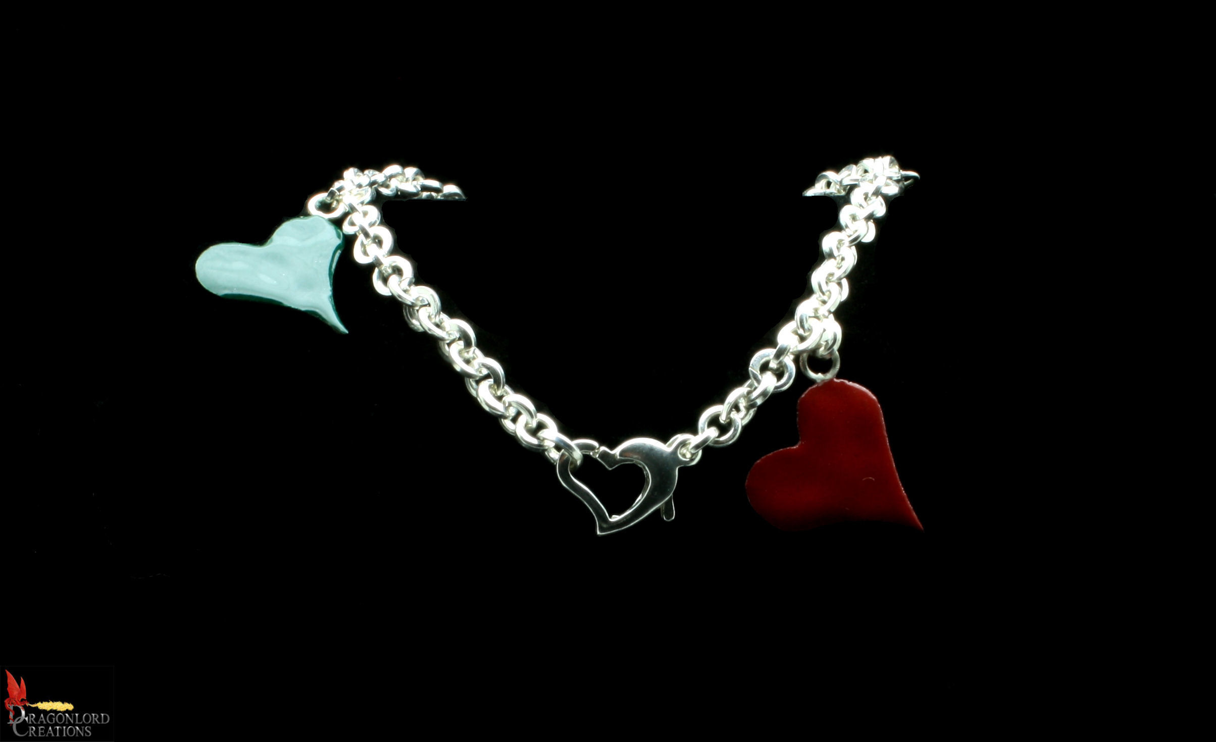 SOLD No656f Colour Hearts Bracelet