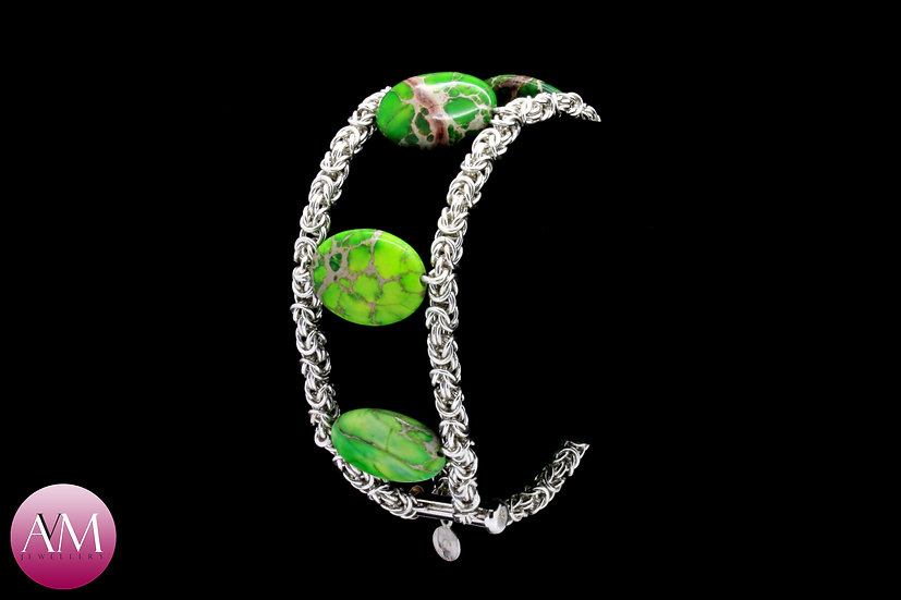 Sterling Silver Double Byzantine Bracelet with Green Jasper - 20cm