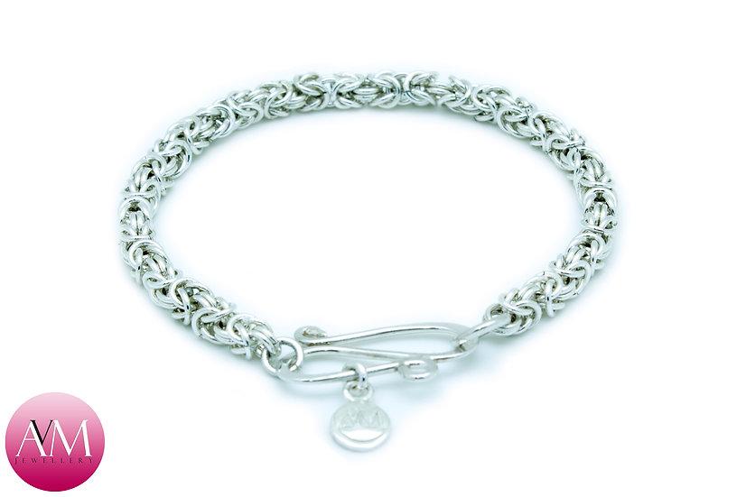 Delicate Sterling Silver Byzantine Bracelet