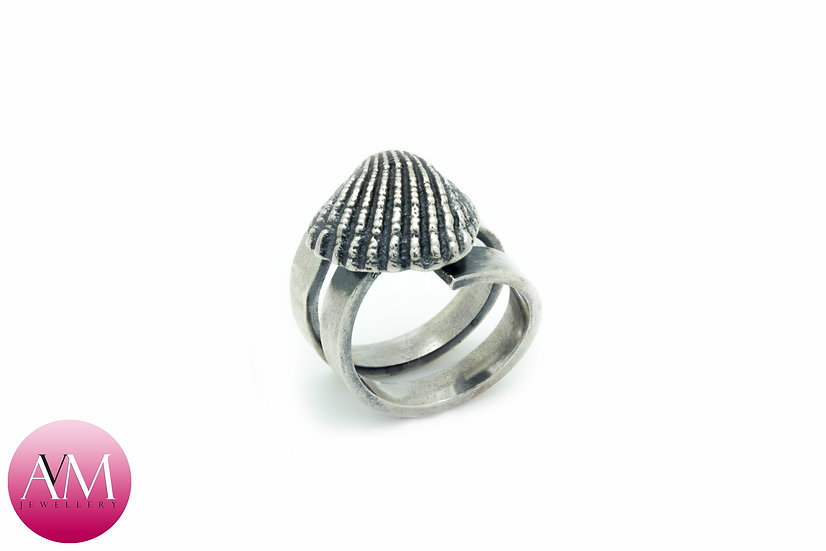 Dark Solid Sterling Silver Ridged Seashell on Spiral Ring [#01]