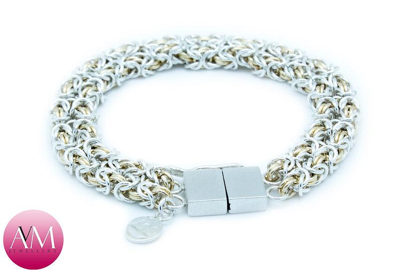 BINARY - Twin Delicate Byzantine Bracelet in Yellow Gold Fill & Sterling Silver