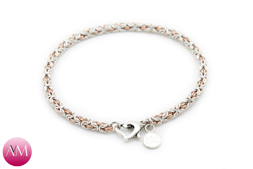 Microbyzantine Bracelet in Rose Gold Fill & Sterling Silver