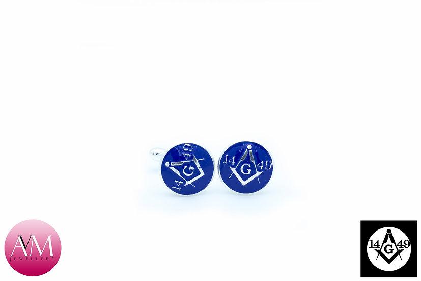 Sterling Silver Lodge [1449] Button Cufflinks