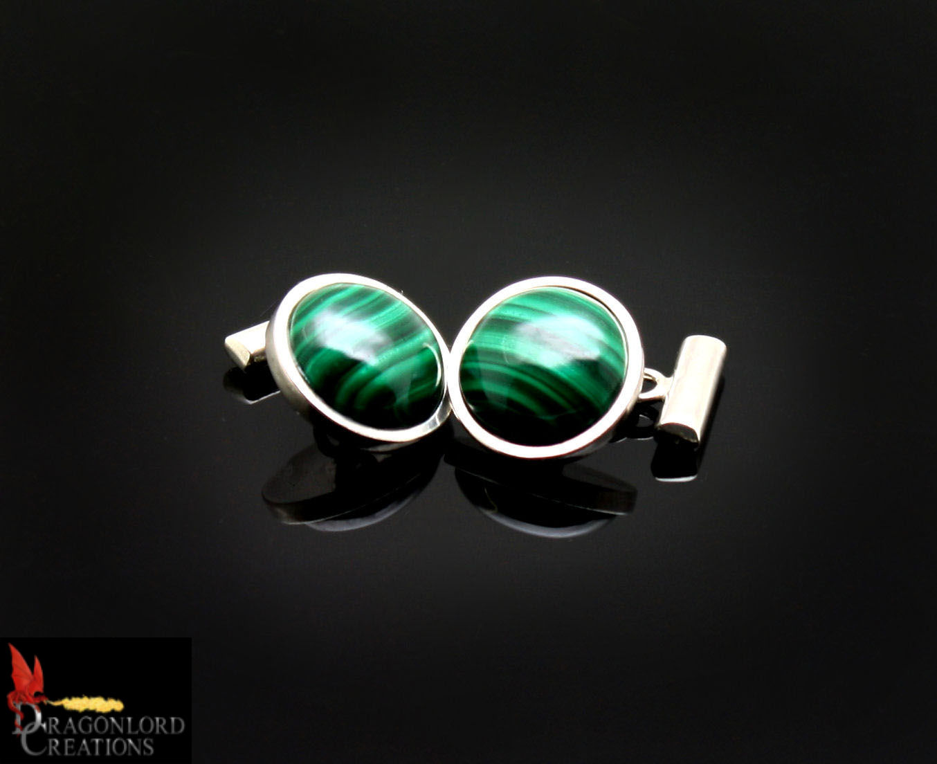 SOLD No887b Malachite Cufflinks