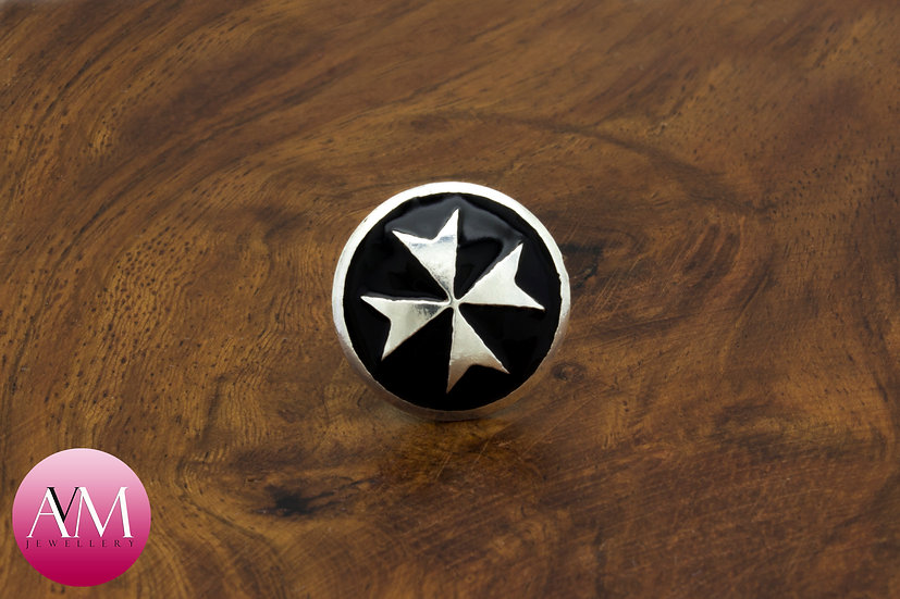 Sterling Silver Maltese Cross Button Lapel Pin [Pattern 02Black]