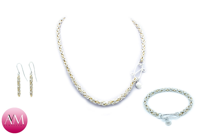 Delicate Byzantine Set in Yellow Gold Fill & Sterling Silver