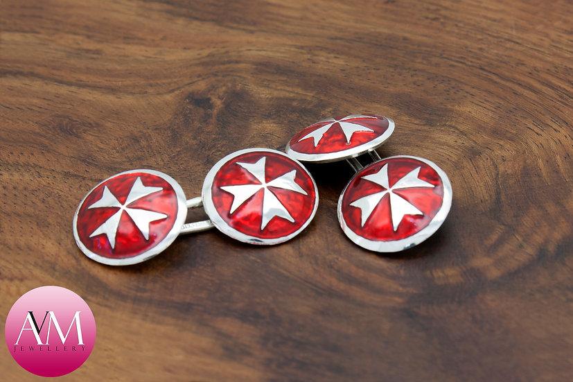 Sterling Silver Maltese Cross Double Cufflinks [Pattern 02Red]