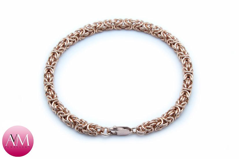 Delicate Rose Gold Fill Byzantine Bracelet