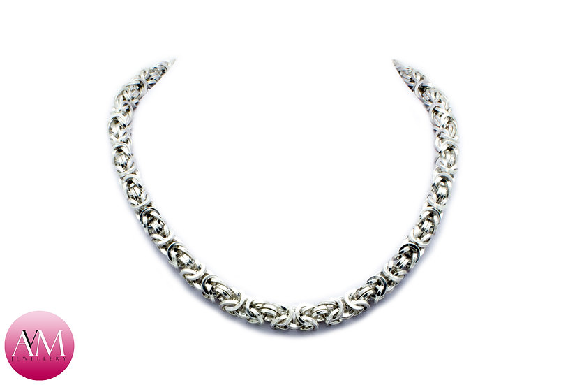 REVERENCE - Heavy Sterling Silver Byzantine Necklace in Square Wire