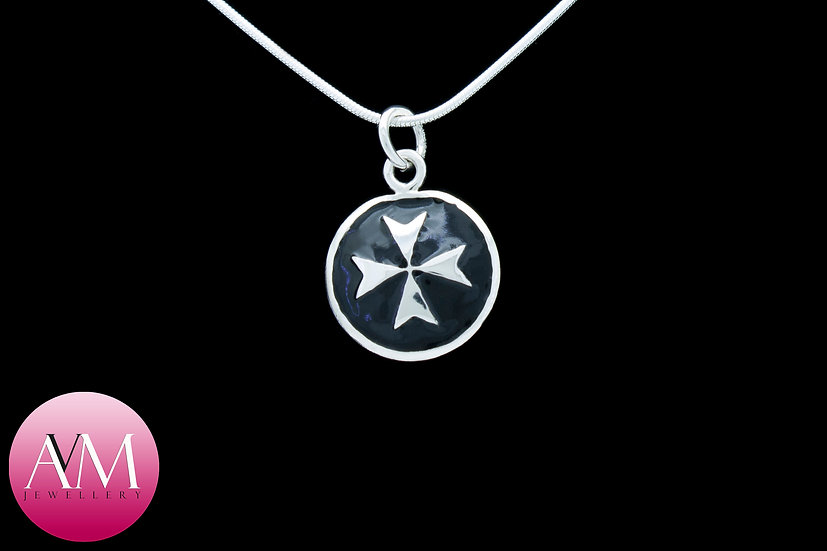 Sterling Silver Maltese Cross Pendant [Pattern 02Black]