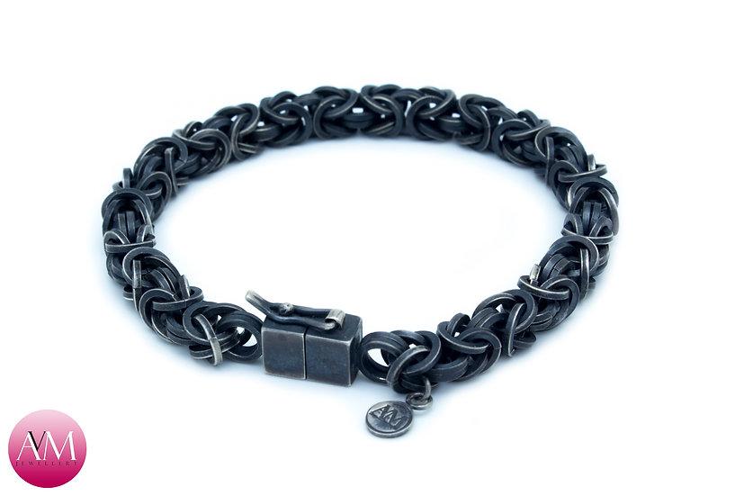 DARK HONOUR - Heavy Sterling Silver Byzantine Bracelet