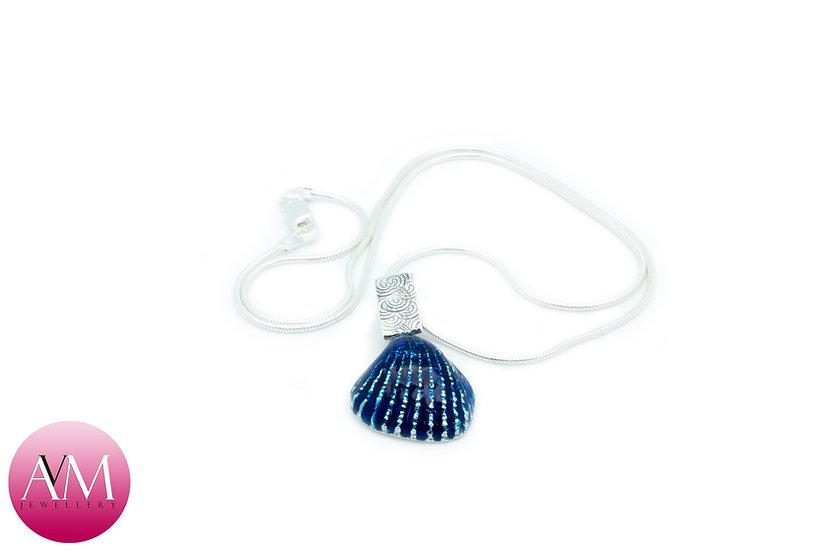 Blue Enamel Solid Sterling Silver Ridged Seashell Pendant [#01]
