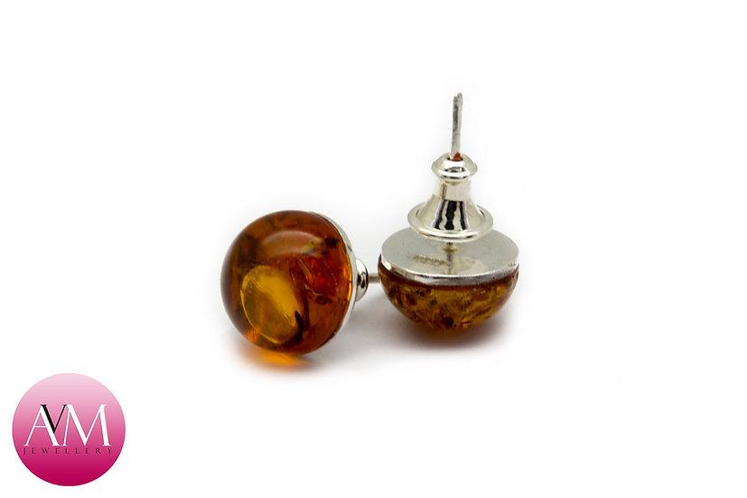 Amber Stud Earrings (10mm) on Sterling Silver