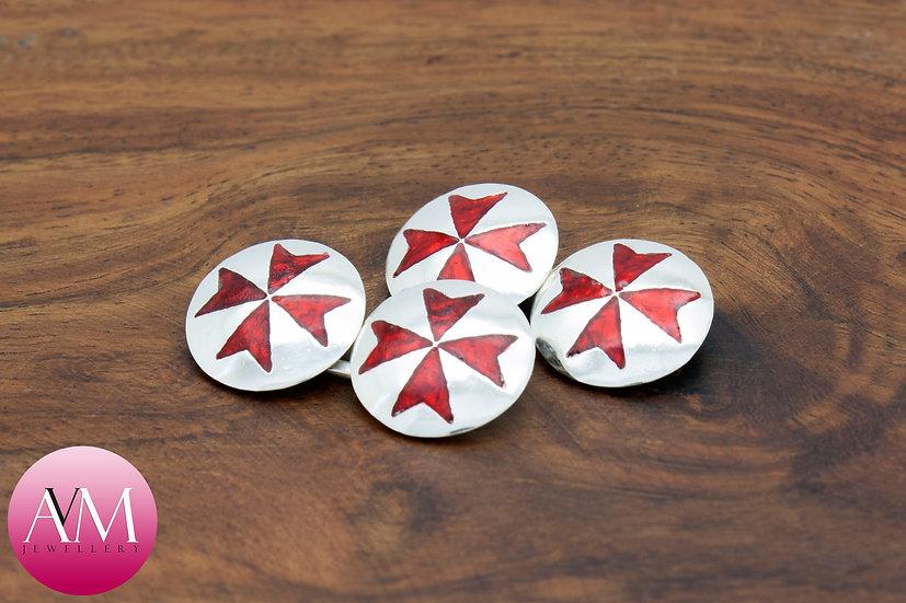 Sterling Silver Maltese Cross Double Cufflinks [Pattern 01Red]