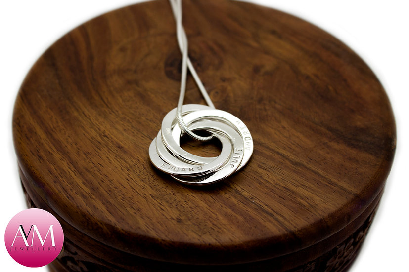 Sterling Silver Family Pendant with Stamped Loved Ones' Names