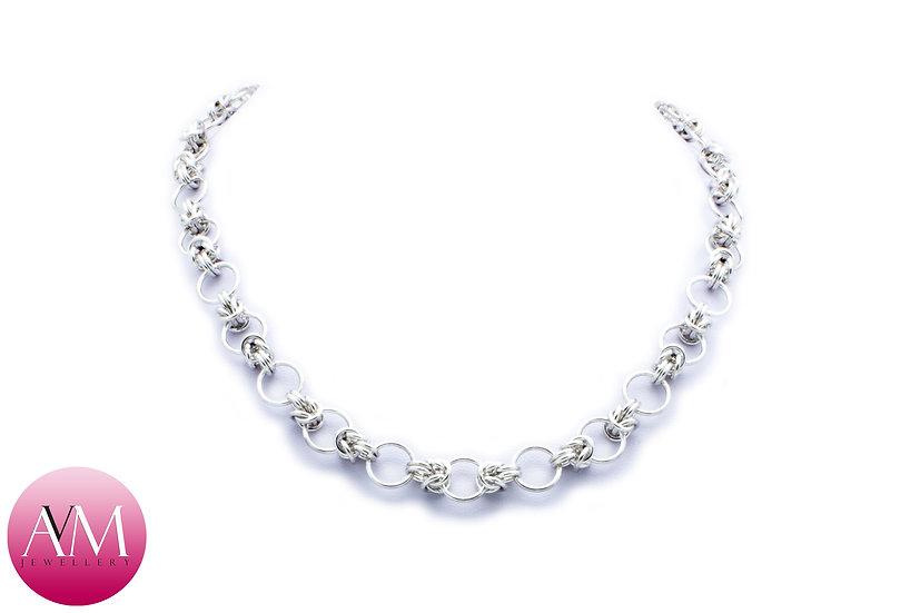 Sterling Silver Half Byzantine Necklace