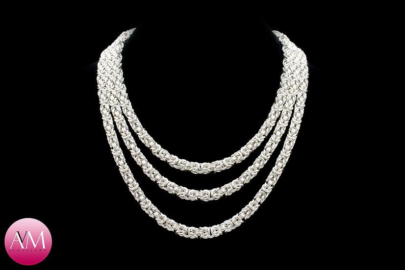 RAPTURE - Three Strand Sterling Silver Byzantine Necklace