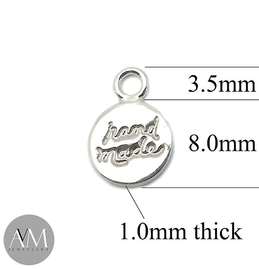 "Sterling Silver ""handmade"" Charm stamped .925 for Bracelet or Necklace"