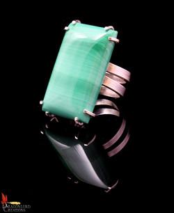 No416e Succour Green Jasper Spiral Ring