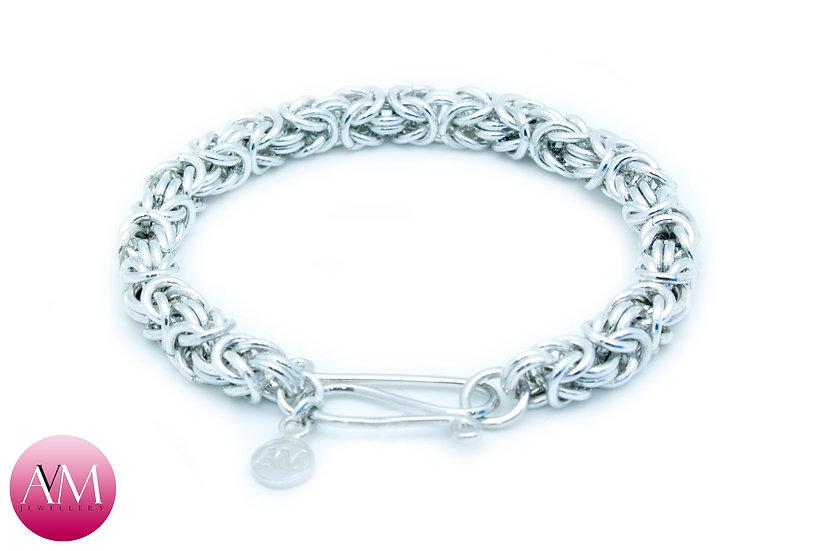 Heavy Sterling Silver Byzantine Bracelet
