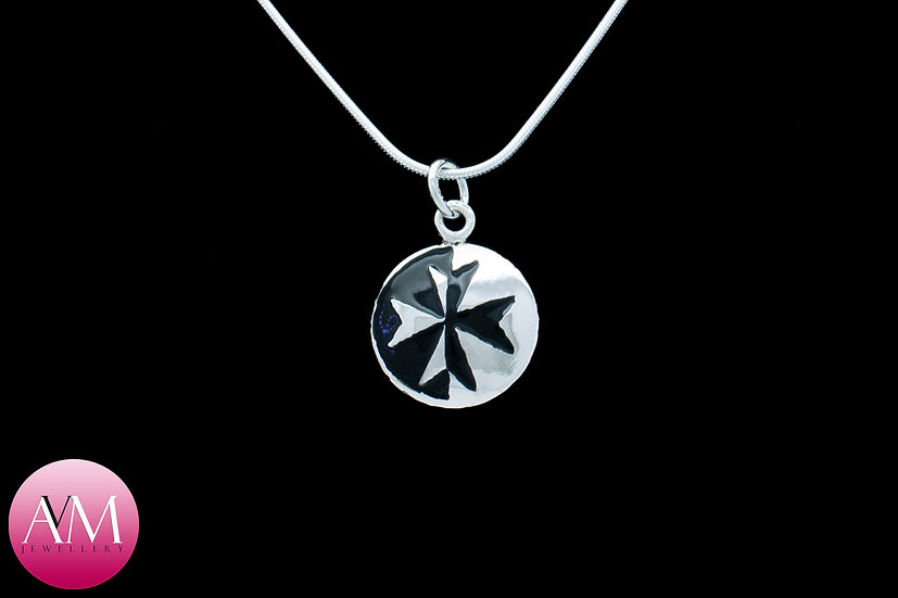 Sterling Silver Maltese Cross Pendant [Pattern 03Black]