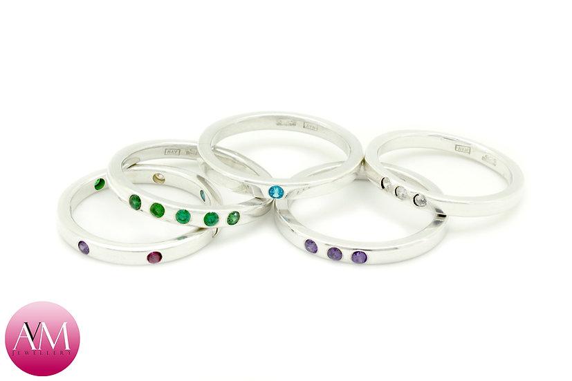 Sterling Silver & Cubic Zirconium Crystal Rings