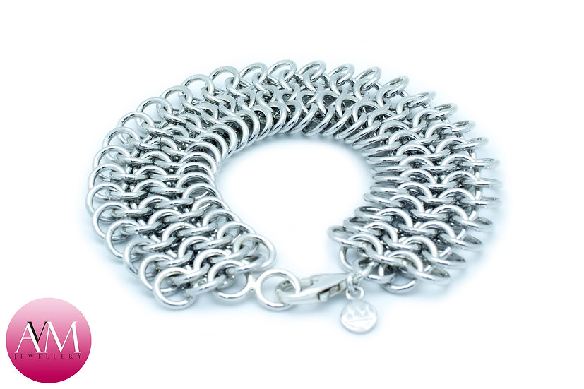 GOLIATH - Extra Heavy Sterling Silver 4in1 Chainmaille Bracelet