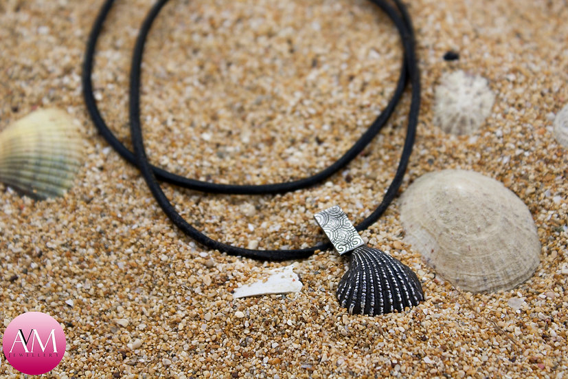 Solid Sterling Silver Dark Ridged Seashell Pendant [#01]