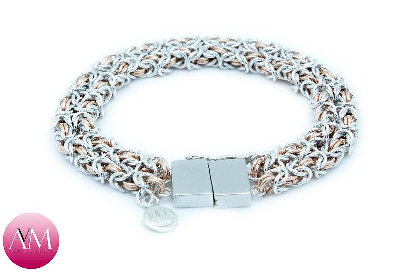 BINATE - Twin Delicate Byzantine Bracelet in Rose Gold Fill & Sterling Silver