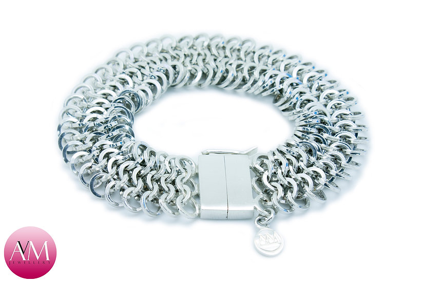 CIRCE - Sterling Silver 4in1 Chainmaille Bracelet in Square Wire