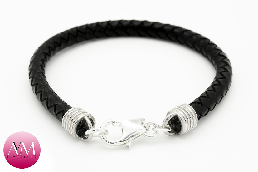 Braided Leather Bracelet with Sterling Silver Clasp