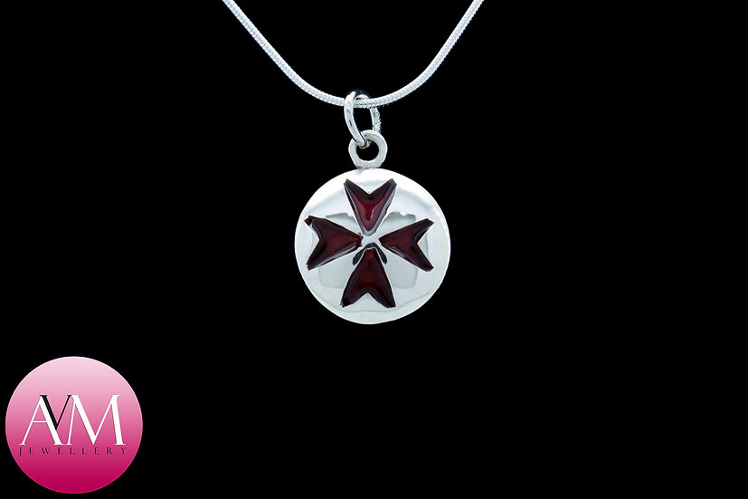 Sterling Silver Maltese Cross Pendant [Pattern 01Red]
