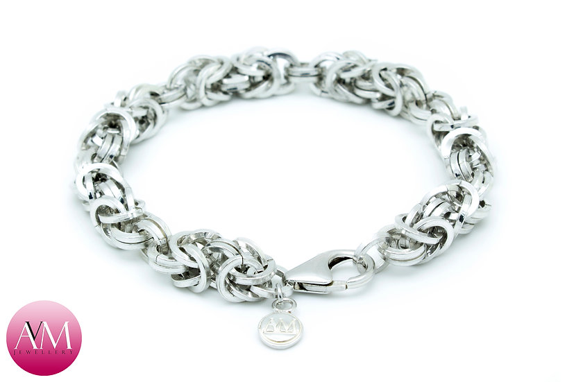 Heavy Spaced Sterling Silver Byzantine Bracelet in Square Wire