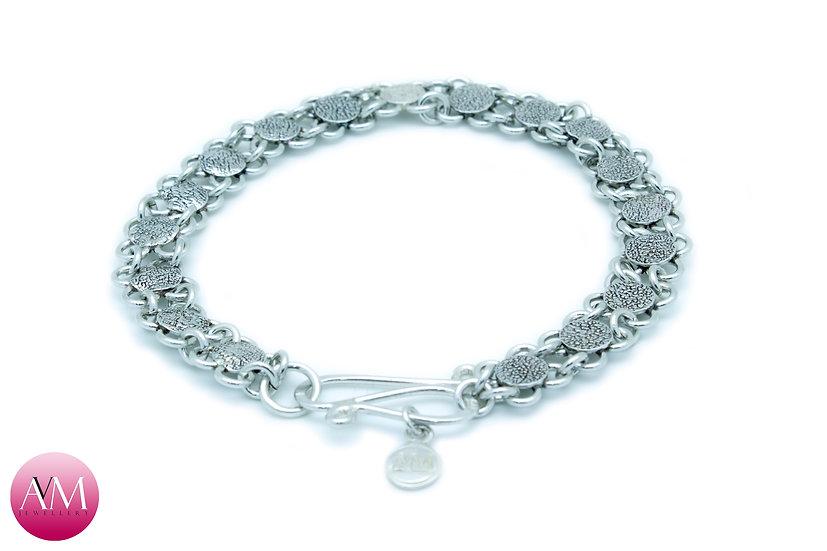 Embossed Sterling Silver Flowers Bracelet