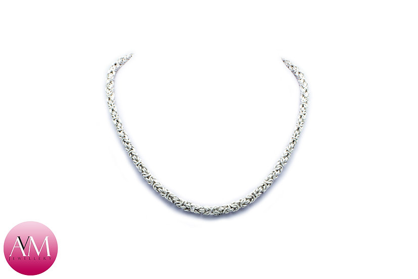 Delicate Sterling Silver Byzantine Necklace