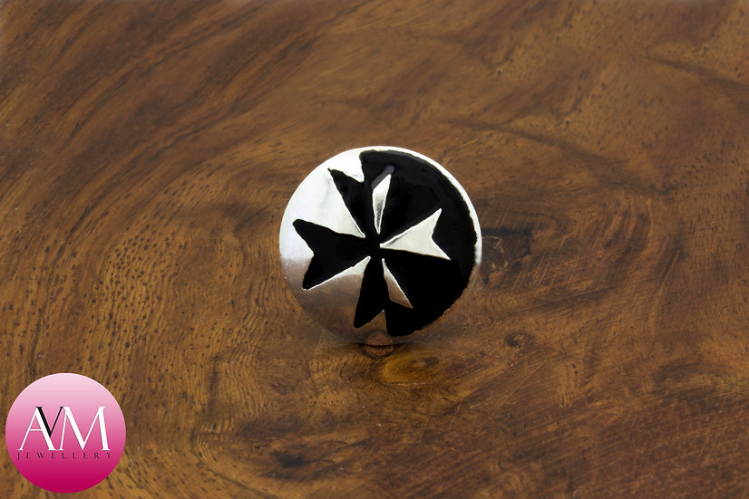Sterling Silver Maltese Cross Button Lapel Pin [Pattern 03Black]