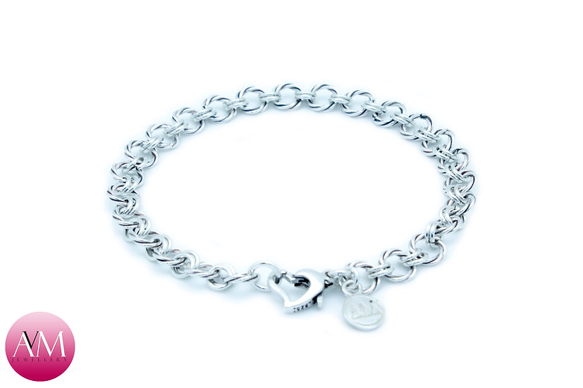 Delicate Twisted Sterling Silver Bracelet with Heart Clasp