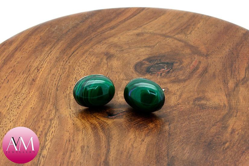 Malachite & Sterling Silver Stud Earrings