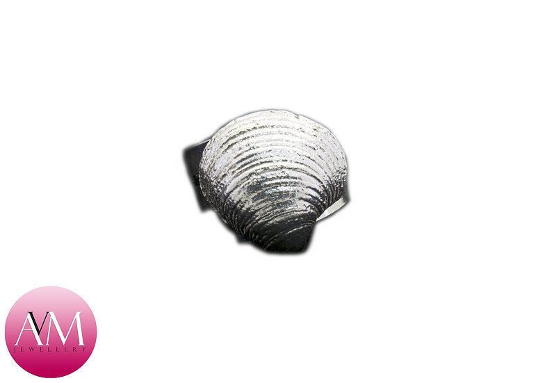 Large Solid Sterling Silver Seashell on a Spiral Ring [#03]