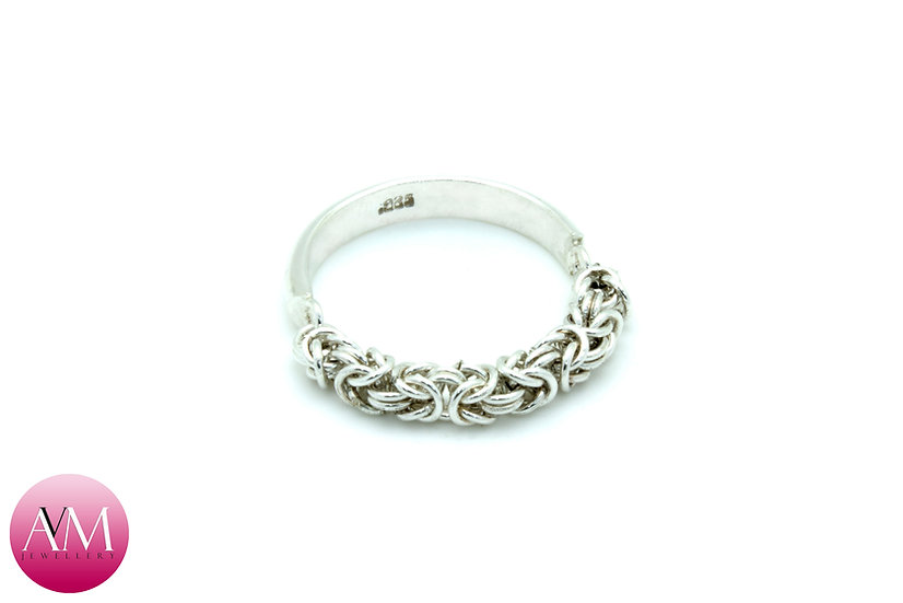 FIDELITY - Sterling Silver Microbyzantine Half Ring