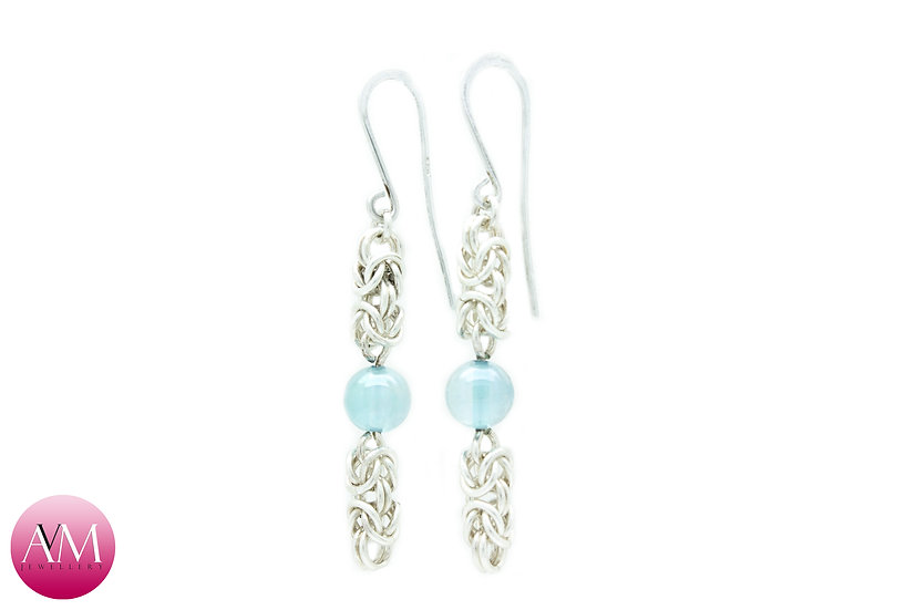 Sterling Silver Byzantine & Aqua Aura Crystal Spheres Earrings [01]
