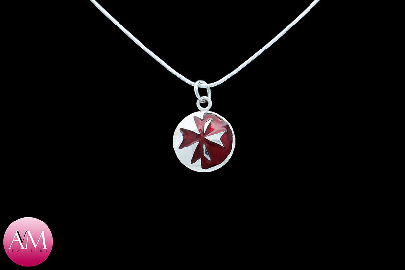 Sterling Silver Maltese Cross Pendant [Pattern 03Red]