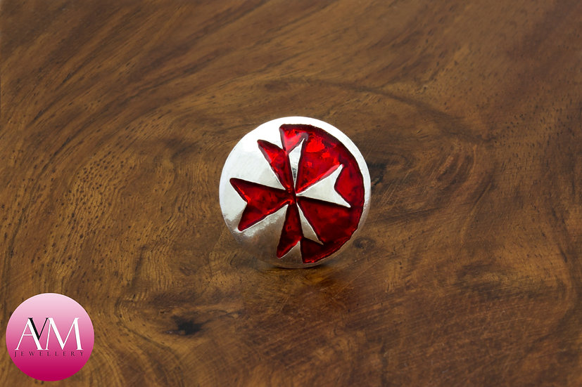 Sterling Silver Maltese Cross Button Lapel Pin [Pattern 03Red]